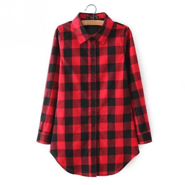 eacd181cc7 2019 Moda camisa xadrez Vermelha impressão longa blusa feminina Inverno  blusas casuais mais mulheres do tamanho