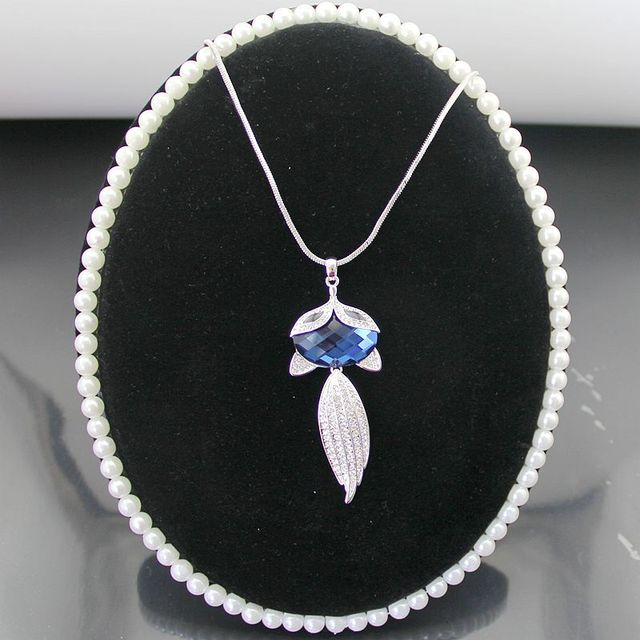New Fashion Female Popular Lovely Cute Rhinestone Fox With Large Blue Crystal Silver Tone Pendant Necklace, Item No.: LN0270K1
