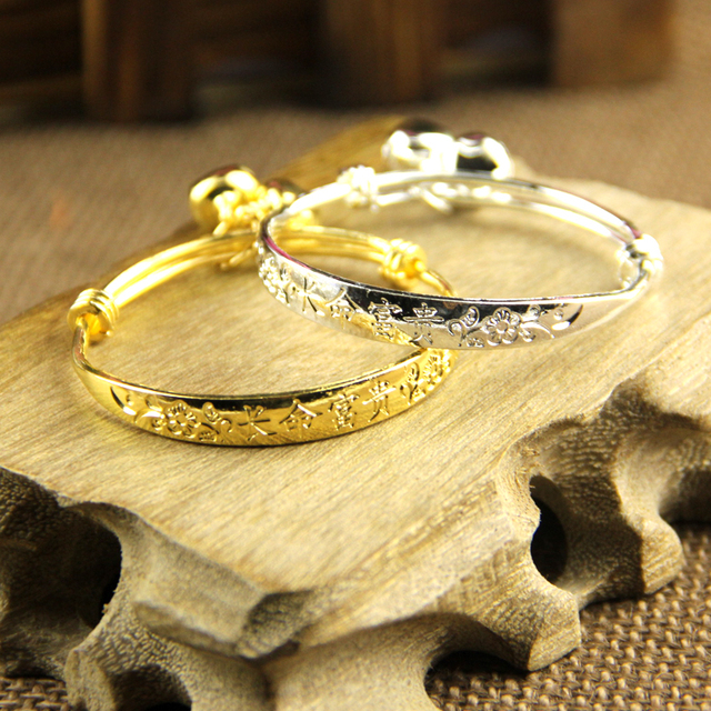 2pcs Baby With Bells Bracelet Plated Silver Plated18k Gold Kid Boy