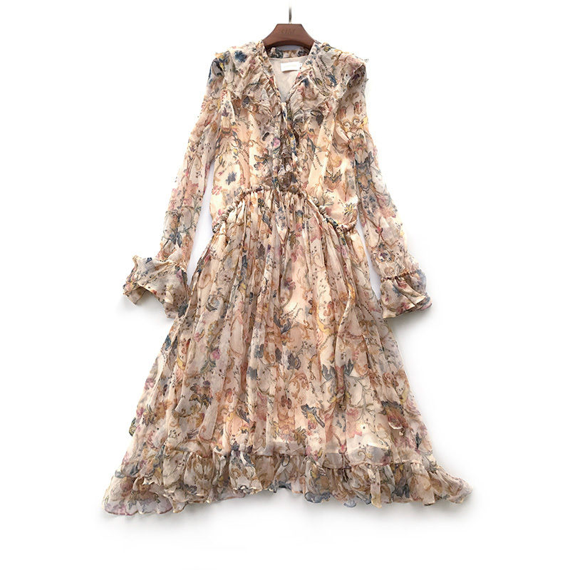 b448dd9d31d4 New In V-neck Long Sleeves Floral Printed Silk Pullover Style Dress With  Ruffle Detailing