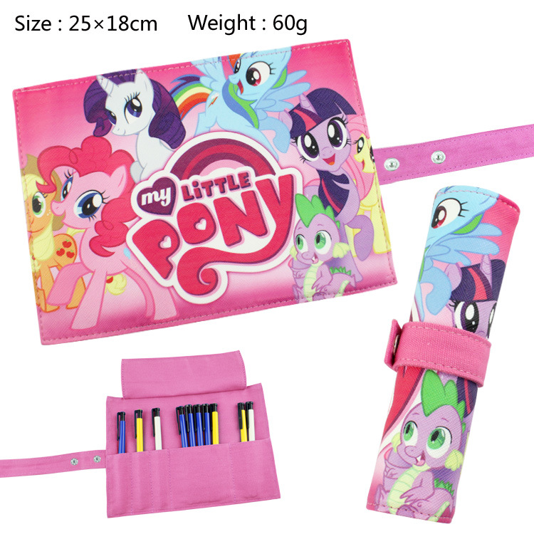 Lovely Poni Canvas Roll Up Pencil Bag Anime Pencil Case Kids Boy Gift Stationery School Supplies magnetic buckle up pencil case