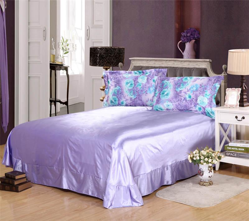 Satén de seda conjunto de sábanas edredón cubre colcha doble reina completa king size dormitorio decoración púrpura azul flor estilo chino - 3