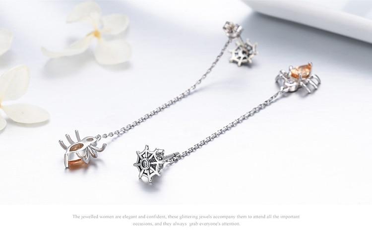 925 пробы серебряные нежные скалолазание насекомые паук длинные висячие серьги для женщин подлинные оригинальные серебряные ювелирные изделия подарок ECE170