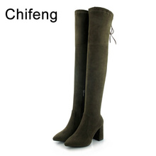 shoes woman boots women knee high winter womens heeled over the knee boots suede black women's fashion shoe 2017