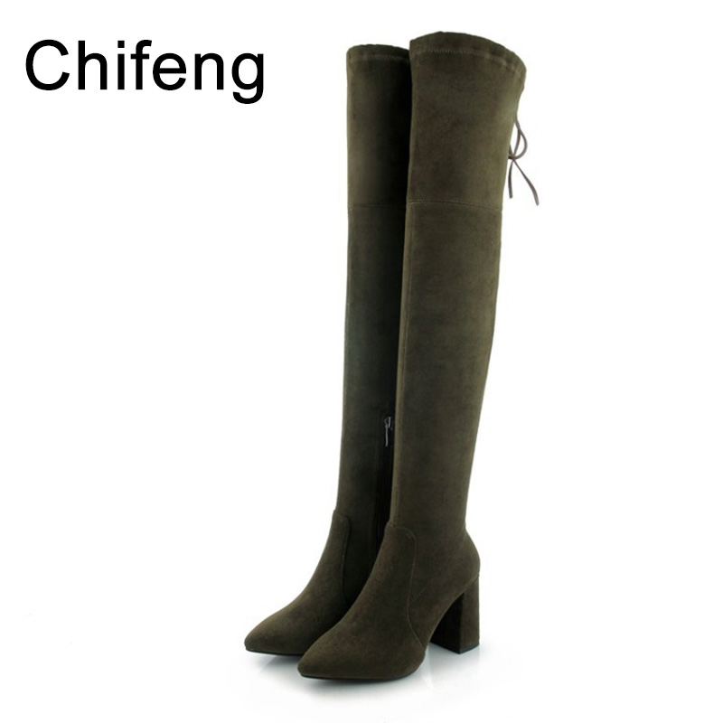 shoes woman boots women knee high winter womens heeled over the knee boots suede black women's fashion shoe 2017 womens lace up over knee high suede women snow boots fashion zipper round toe winter thigh high boots shoes woman