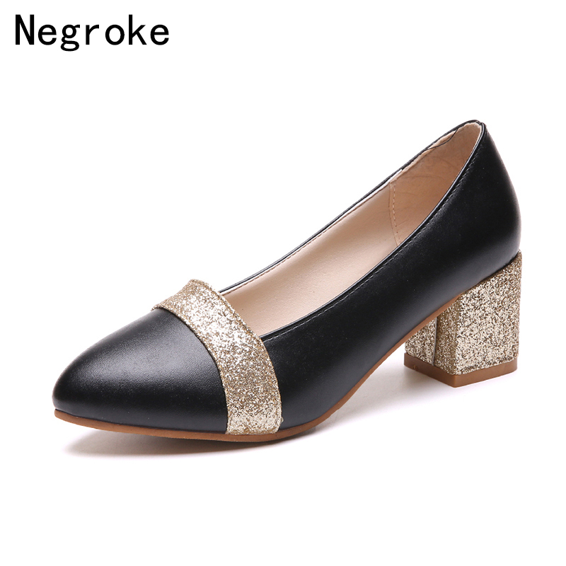 2018 New Arrives Summer Women Shoes Pointed Toe Pumps Silver Gold Chunky Heels Ladies Wedding Dress Shoes Woman Loafers Big Size