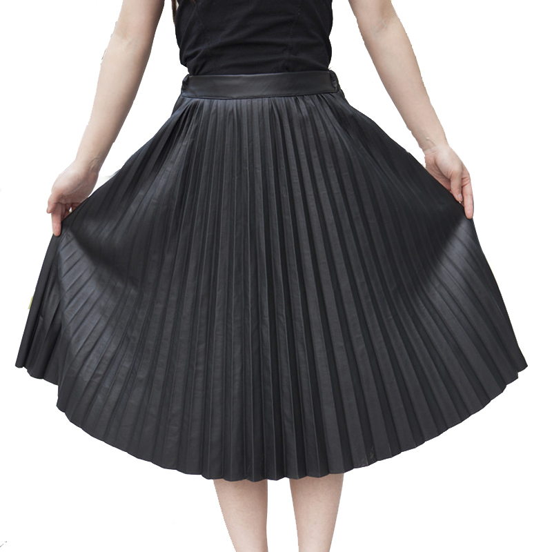 2017 new fashion PU leather pleated skirt gold mental color black - Women's Clothing - Photo 1