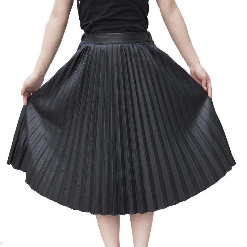 2017 جديد الموضة بو الجلود مطوي تنورة الذهب اللون العقلي الأسود المعطي أضعاف تنورة نوعية جيدة صورة حقيقية في stoc
