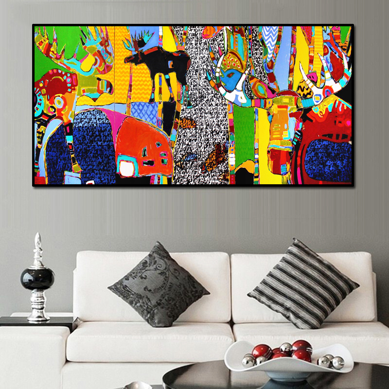 Abstract Wall Art Cartoon Animal Pictures Decorative Painting For Living Room Big Size Prints & Posters Modern Art Home Decor