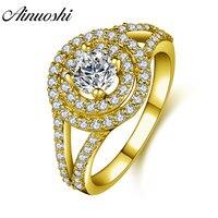 AINUOSHI Trendy Double Halo Round Ring 14K Solid White/Yellow Gold Pave Setting Band Sona Diamond Women Wedding Engagement Ring
