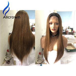 Image 2 - ALICROWN pelucas de cabello humano con encaje frontal ombré 1b/27, pelo Remy brasileño, 13x4, pelucas de encaje prearrancadas con nudos blanqueados de pelo de bebé