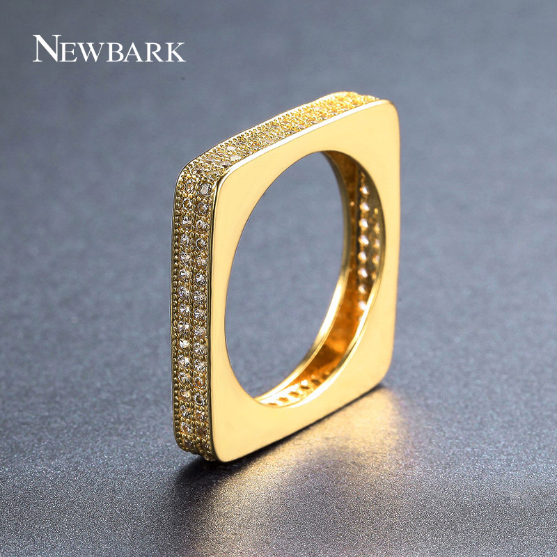 NEWBARK Punk Rock Square Finger Ring Micro 2 Rows Crystal Stone Paved Full AAA CZ in Rose Gold/Gold/Silver Color Jewelry Female