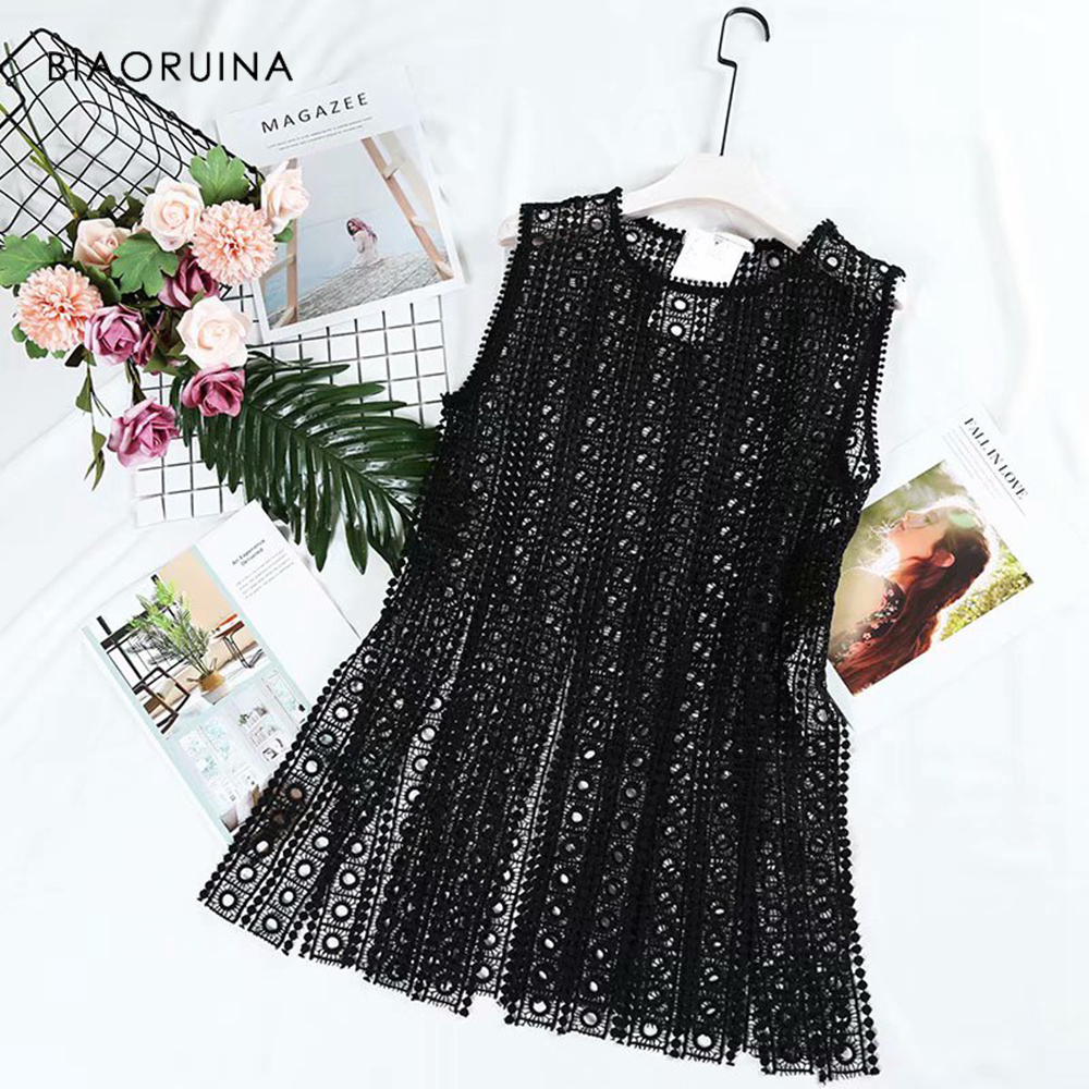 BIAORUINA Women Summer Black Hallow Out Lace Patchwork   Tank     Tops   Female O-neck Sexy Long   Tank     Tops   Ladies Elegant Club   Tops