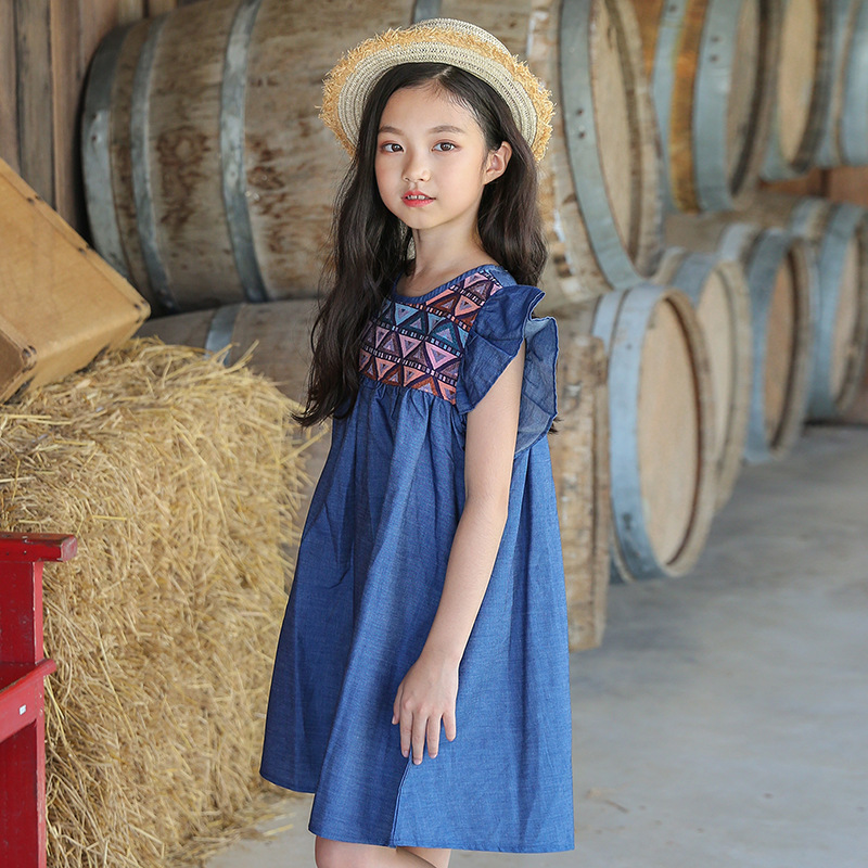 Big Girls Denim Dress Kids Girl Dresses 2019 Summer Teenagers Clothes  Children Clothing For 3 4 5 6 7 8 9 10 11 12 13 14 Years