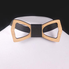 цены Top Sell Unique Wooden Bow Tie Men Geometric Scissors Laser Cutout Jewelry Accessory Wedding Pre Party Tied Clip Child Neck Bow