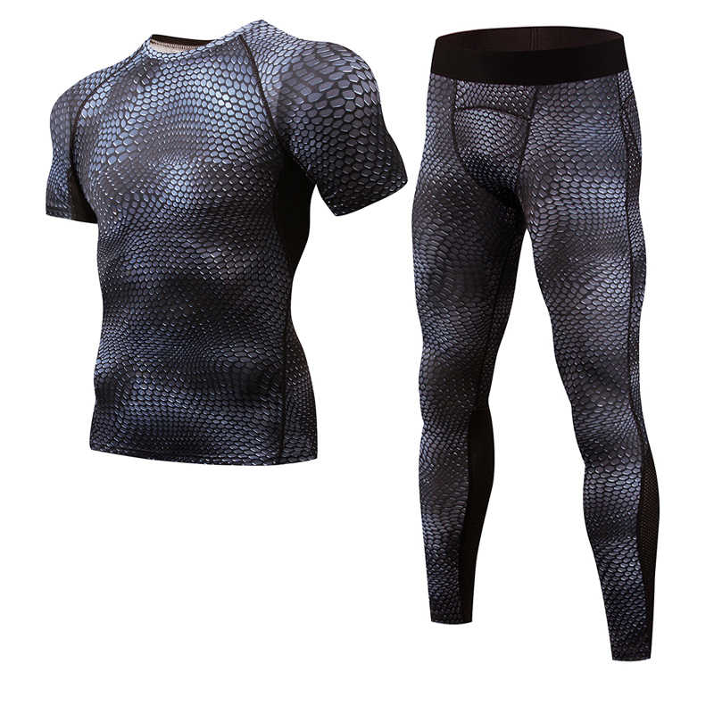 Men's Compression Set Snake Print T-Shirt Short Sleeve Fitness Base Tight Pants Men's Crossfit Top Rashguard Brand Sports Set