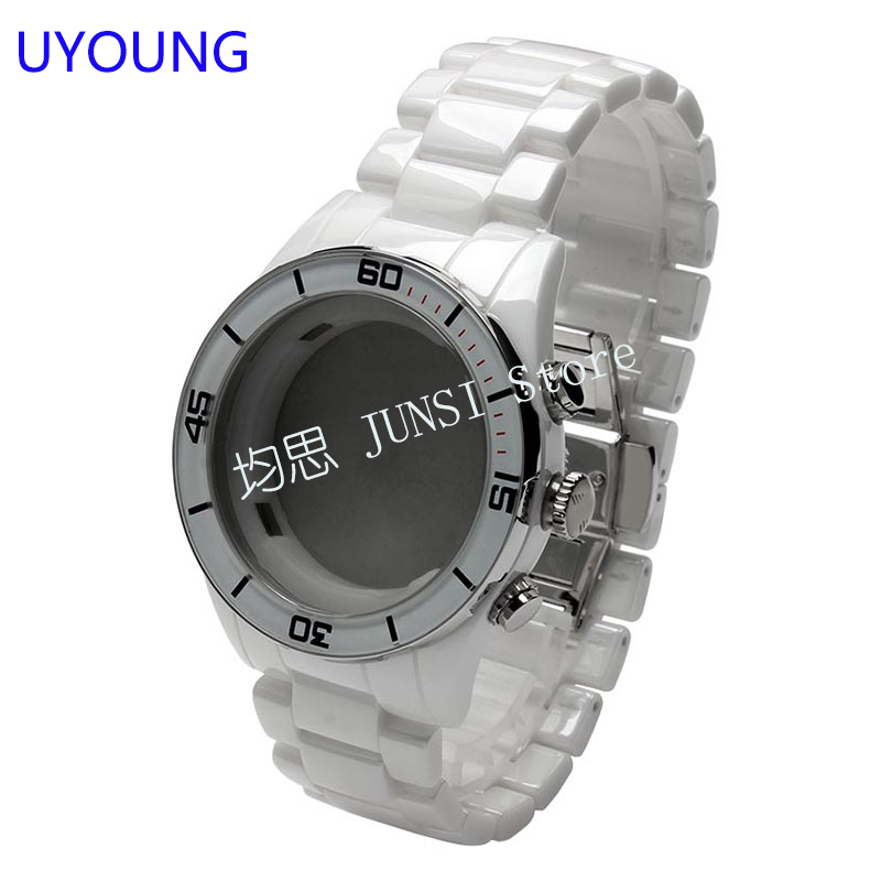 UYOUNG Watch accessories Real ceramic Watchband White case For AR1424 Quality Strap Bracelet Strap Bracelet uyoung watchband for casio prg 130y prw 1500yj watch bands black silicone rubber strap climbing bracelet