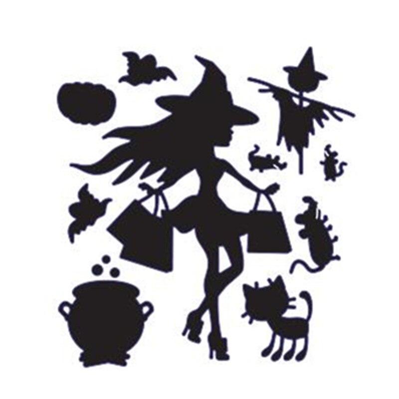 Halloween Witch Metal Cutting Dies Stencil for DIY Scrapbook Album Card MakingYN