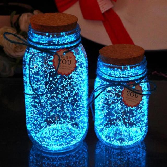 Голубой флуоресцентный светятся в темноте яркий 10 г световой Мощность ночь вечерние украшения DIY звезда желание частицы без бутылки