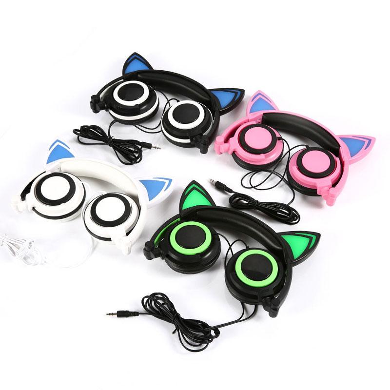 Wired Intermitente Glowing cat ear auriculares para Juegos de Auriculares Plegab
