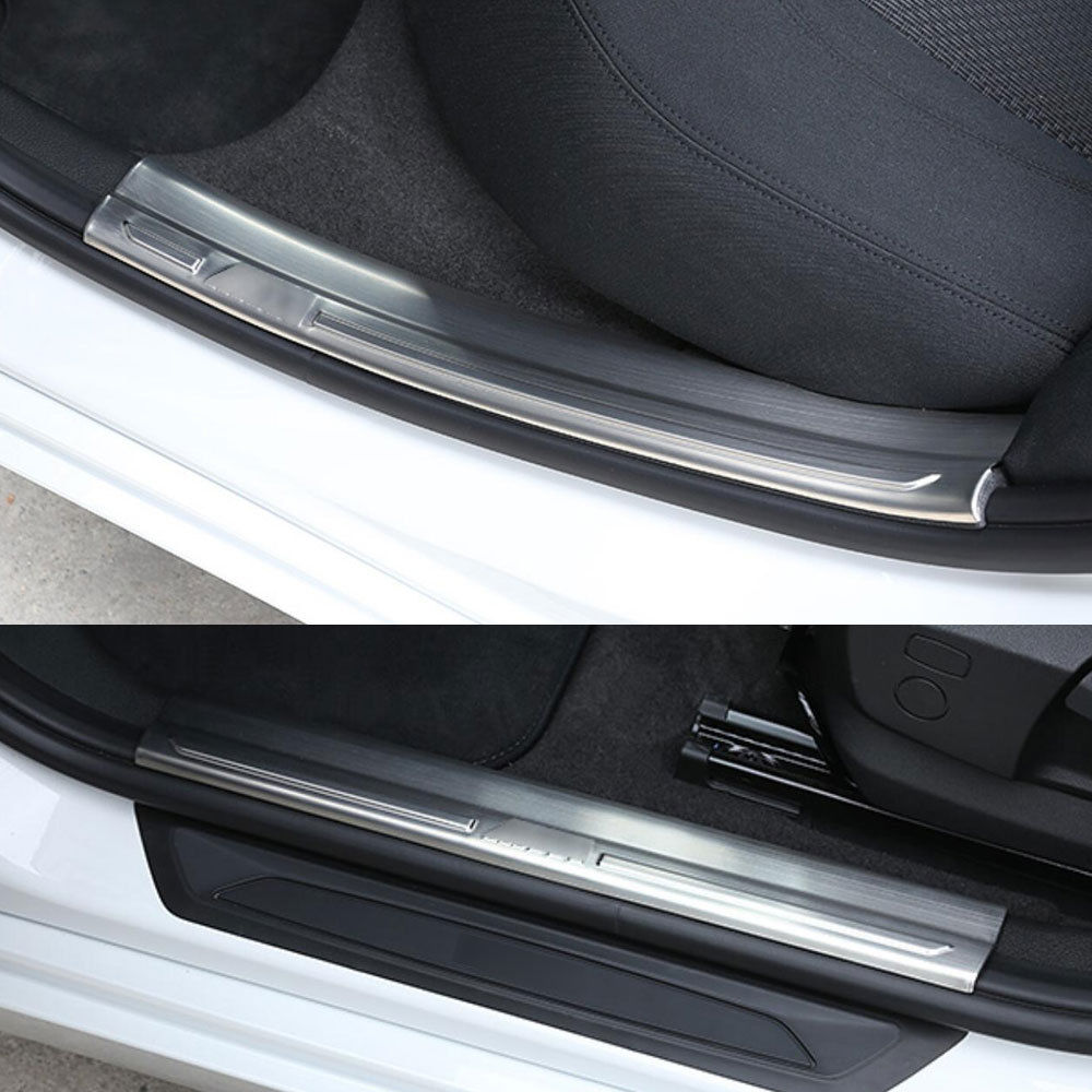 Car Interior Door Sill Scuff Plate Welcome Pedal Guards Trim Anti-scratch Car Styling Accessories For BMW 120i 1 Series 2017