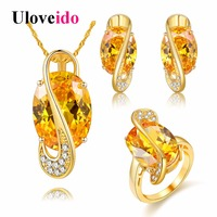 Uloveido 18k Gold Plated Yellow Zircon Jewelry Set For Women Wedding Accessories Parure Bijoux Femme Necklace
