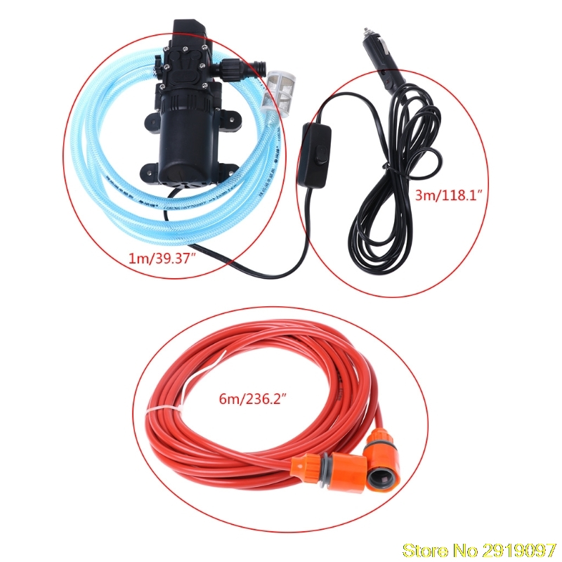 12V Portable 100W 160PSI High Pressure Self-priming Electric Car Wash Washer Washing Machine Cigarette Lighter with Water Pump free shipping high pressure self priming electric car wash washer water pump 12v car washer washing machine cigarette lighter
