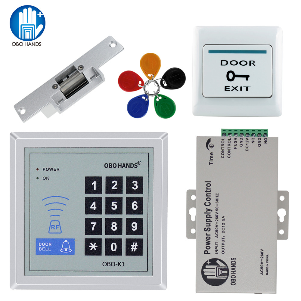 OBO HANDS RFID Access Control System Kit Set with power supply+electric door lock+exit button+5 keyfobs For Metal and glass door fingerprint door access control security system kit set with electric control lock power supply door exit button for 1000 user
