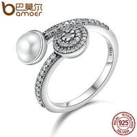 BAMOER 100 925 Sterling Silver Luminous Glow White Crystal Clear CZ Open Finger Rings For Women