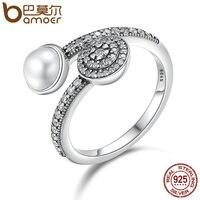 BAMOER 100 925 Sterling Silver Luminous Glow White Crystal Clear CZ Open Finger Rings For Women