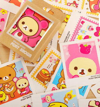 business cards mini postcard cartoon bear rilakkuma kids friends shop gift thanks card encourage 120pcs - Kids Business Cards