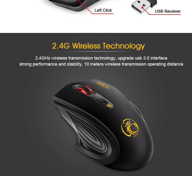 New 2.4GHz 1600DPI Wireless Mouse USB Receiver Optical Gaming Mouse  for Pro Gamer for Laptop Desktop PC