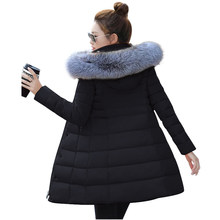 womens winter jackets and coats 2018 Parkas for women 4 Colors Wadded Jackets warm Outwear With a Hood Large Faux Fur Collar(China)