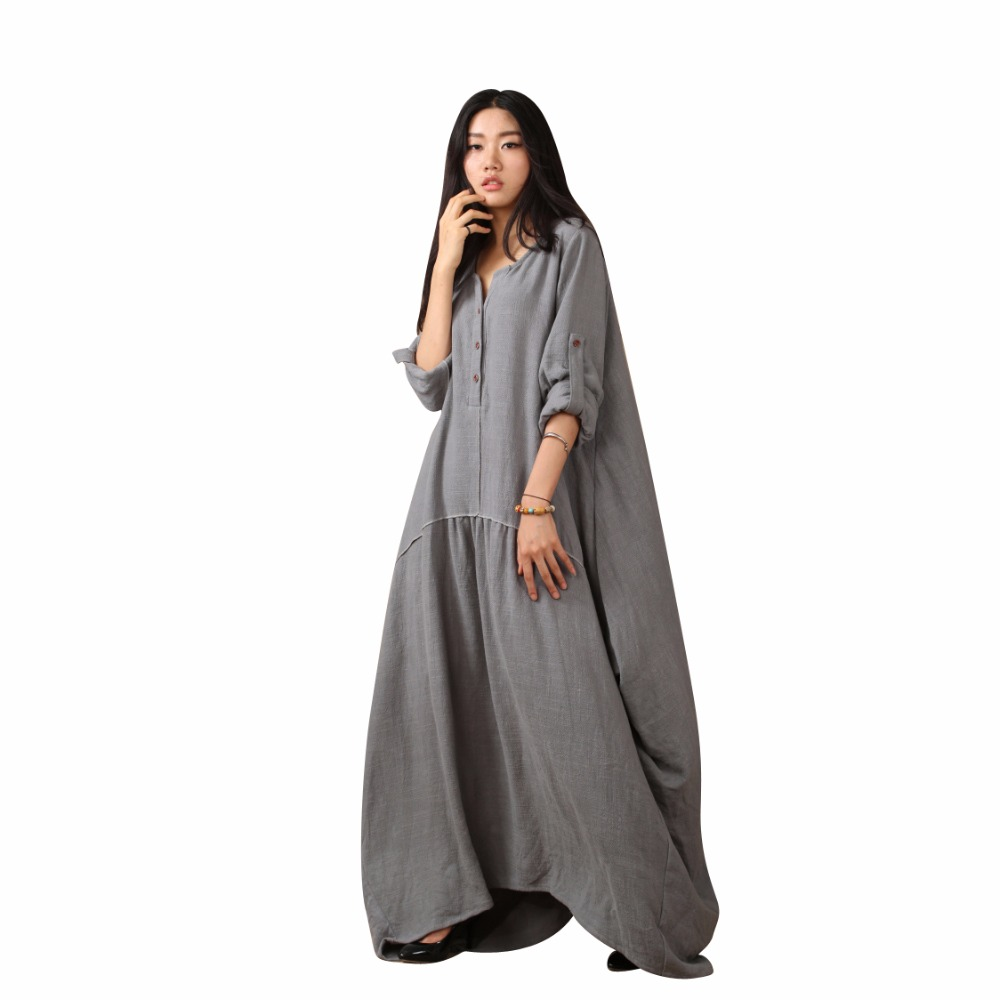 Vintage Casual Maxi Linen Dress Plus Size Women Dress ...