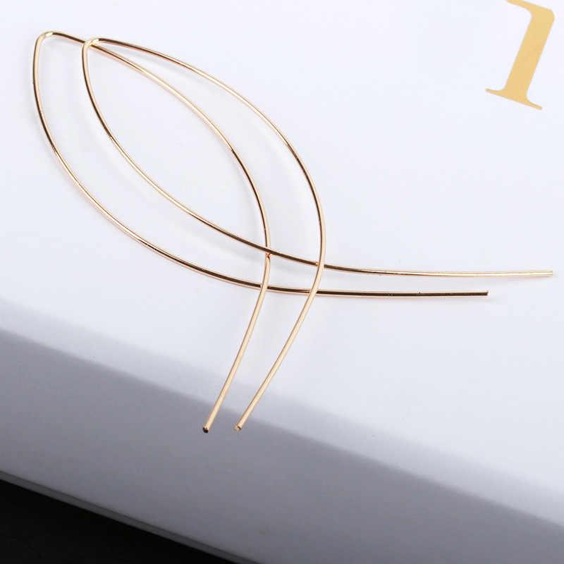 Pendientes de aro cruzado negro oro Color plata declaración largo lazo pendiente hembra/macho oreja moda joyería accesorios regalo