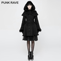 PUNK RAVE Lolita Women Imitation Rabbit Soft hooded Jackets Medium Length Swallow Tail Ladies Wool horn shaped cuff Dress Coats