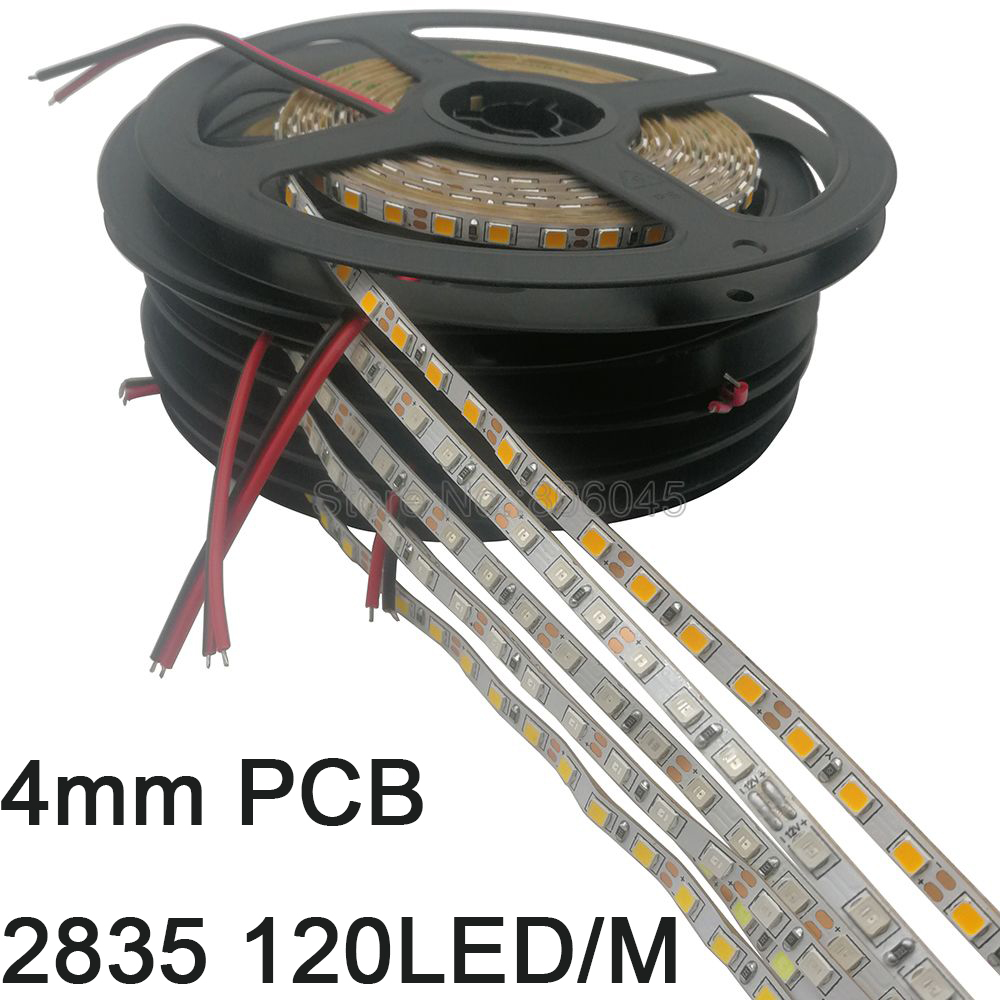 4mm Narrow Width 5m 2835 LED Strip Tape 120LED/M 600SMD 12V Flexible Strip White Warm White Blue Green Red Yellow IP20 Stripe