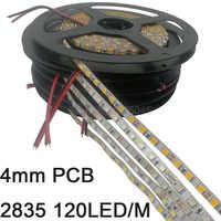 Cinta de tira de LED 2835 5m de ancho estrecho de 4mm 120LED/M 600SMD 12V tira Flexible blanco cálido rayas IP20 blanco azul verde rojo amarillo