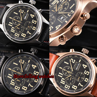 43mm Parnis Brand Quartz Watch Men Three Small Dial Chronograph Week Calendar 100M Leather Quartz Pilot Military Men's Watches