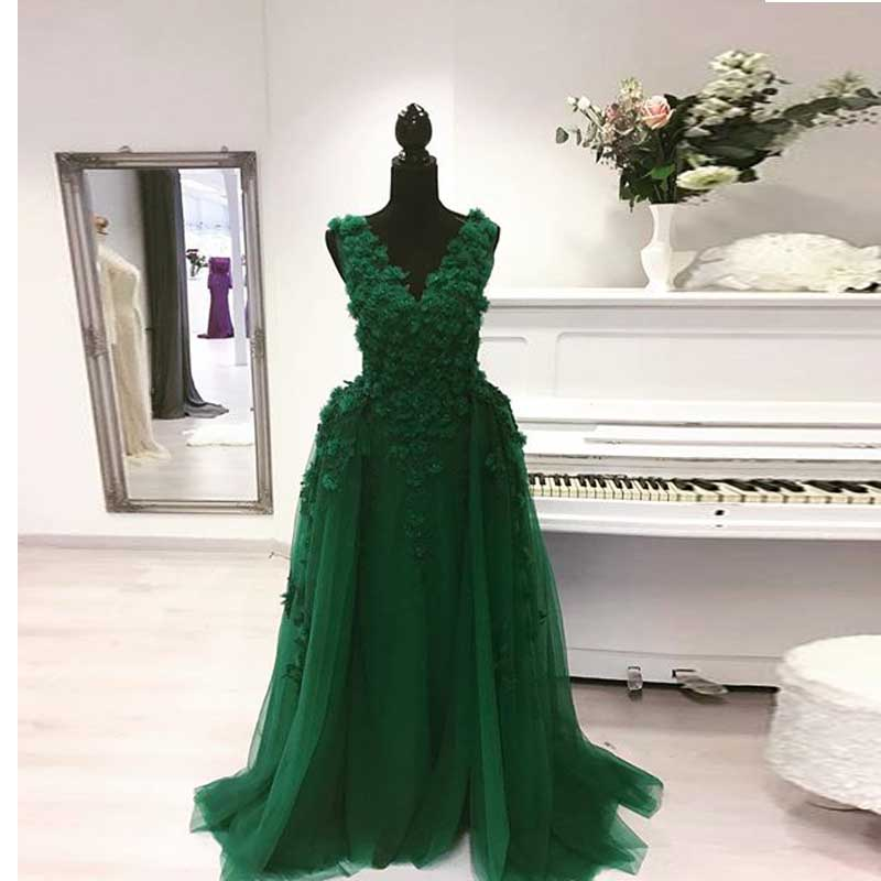 Sexy Muslim Long Emerald Green Floral Formal Prom Evening Party Dress Removable Skirt For Graduation Prom Dresses Abendkleider