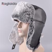 Raglaido Men's Bomber Hats Real Rabbit Fur+Genuine Leather winter Real Fur trapper hats russian snow beanies ear caps LQ11199R