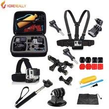 Gopro accessories set go pro kit mount for SJ4000 gopro hero5 4 3 2 Black Edition SJCAM SJ5000 camera case xiaoyi chest tripod экшн камера gopro hero5 black edition
