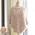Осень зима женская подлинная 100% настоящее трикотажные кролика пончо женщины меха пашмины обертывание шаль женский ну вечеринку пуловер