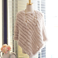 Autumn Winter Ladies' Genuine 100% Real Knitted Rabbit Fur Poncho Women Fur Pashmina wrap fur shawl Female Party Pullover