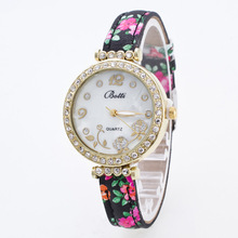 Luxury Fashion Botti Flower Gold Diamond Crystal Quartz Wrist Watch Bangle Bracelet Wristwatches for Women Girls Ladies OP001