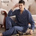 Men Sleep Nightshirt For Pajamas Cotton Long-sleeve Cardigan pyjamas Mens lounge Pajama set