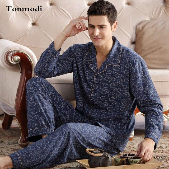 Men Sleep Nightshirt For Pajamas Cotton Long-sleeve Cardigan pyjamas Mens lounge Pajama set