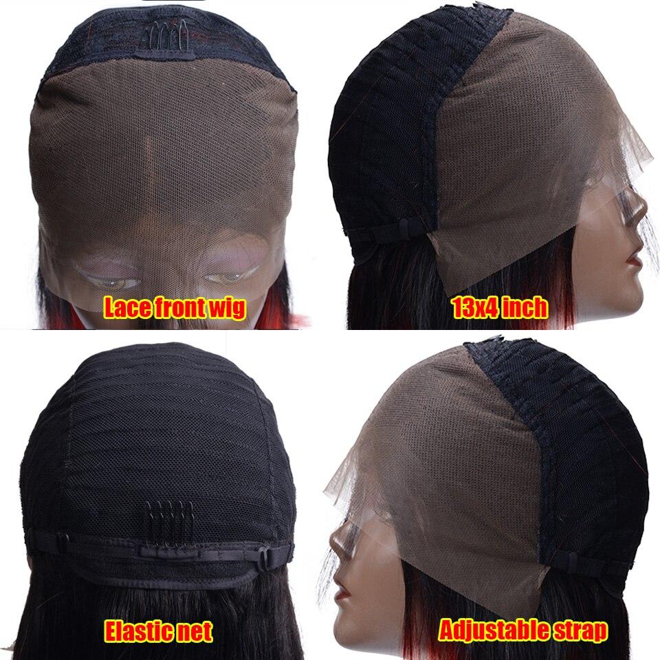 Short Lace Front Human Hair Wigs Straight Brazilian 13x4 Bob Wigs For Black Women 1B red 1B pink Human Hair Wigs in Human Hair Lace Wigs from Hair Extensions Wigs