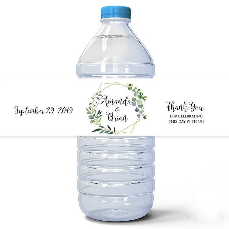 24 Pieces Custom Light Green Leaves Wedding Custom Water Bottle