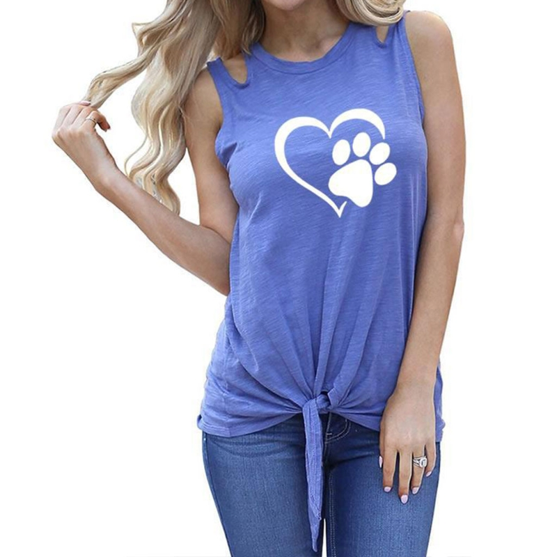KLV Women Cute Graphic Tee Paw Prints Round Neck Sleeveless T Shirt in T Shirts from Women 39 s Clothing